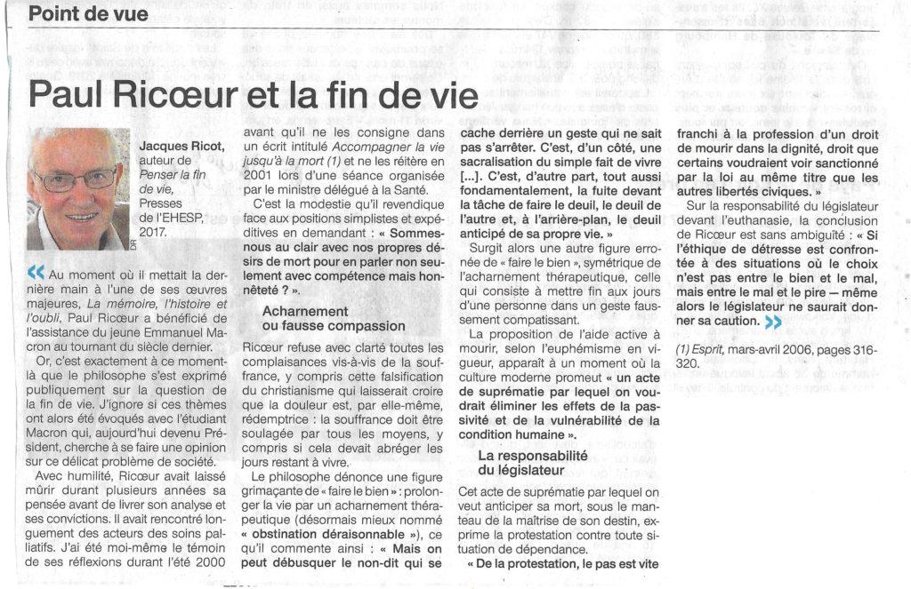 Jacques Ricot Fin de Vie