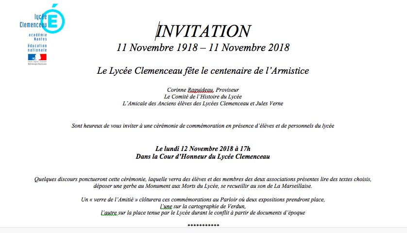 lycée 12 novembre 2018 invitation